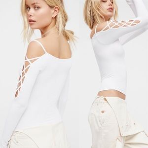 Free People Intimately Lace Up Sleeve Layering Top
